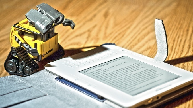 Robot reading tablet